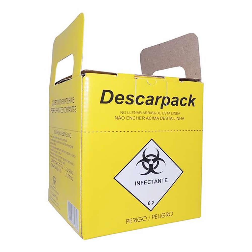 Coletor de Materiais Perfuro Cortantes Descarpack Papelão 13L -  FibraCirurgica 85939d8f9f