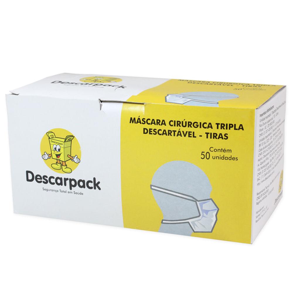 Máscara Cirúrgica Descarpack Tripla Descartável com Tiras com 50un ... c792d666da