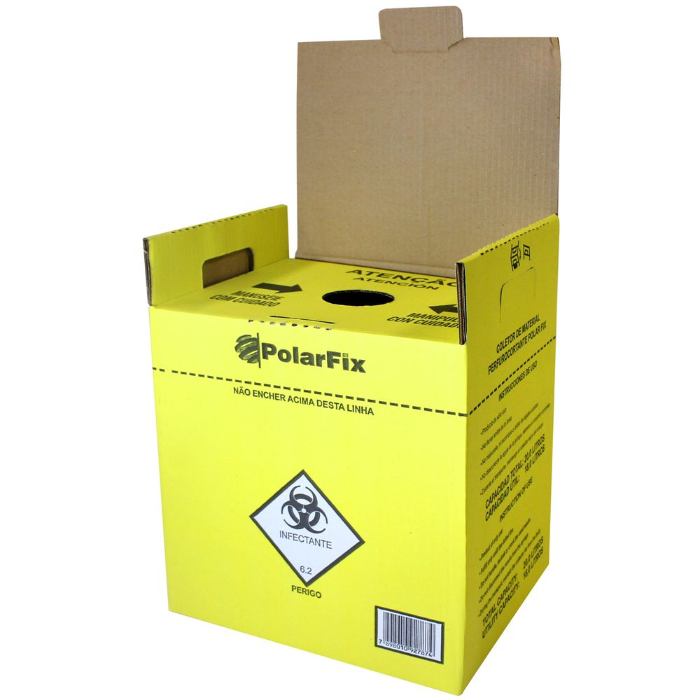 Coletor de Materiais Perfurocortantes Polar Fix Amarelo 20 Litros - Fibra  Cirúrgica - FibraCirurgica b32fcaa561