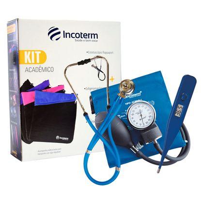 Kit-Academico-Incoterm-Esteto---Aparelho-de-Pressao---Termometro-KA100-Azul