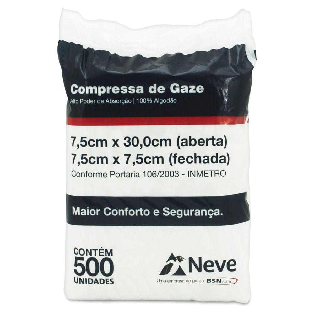 Compressa de Gaze Não Estéril 11 Fios 7,5 x 7,5cm com 500 unidades Neve - Fibra  Cirúrgica. - FibraCirurgica 5f159cc27c