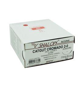 Fio-para-Sutura-Shaldon-CatGut-Cromado-2-0-Com-Agulha-Triangular-de-30cm-e-38