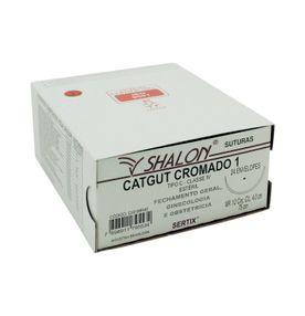 Fio-para-Sutura-Shalon-CatGut-Cromado-1-Com-Agulha-Cilindrica-de-40cm-e-12