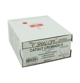Fio-para-Sutura-Shalon-CatGut-Cromado-0-Com-Agulha-Cilindrica-de-35cm-e-12