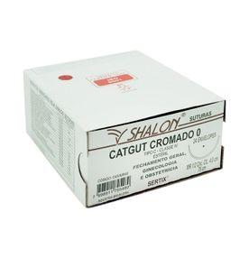 Fio-para-Sutura-Shalon-CatGut-Cromado-0-Com-Agulha-Cilindrica-de-40cm-e-12