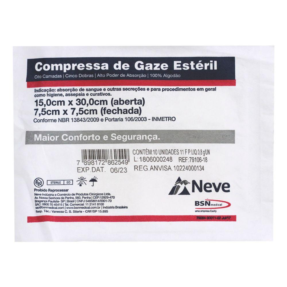 Compressa de Gaze Estéril 11 Fios 7,5 x 7,5cm com 10 unidades Neve - Fibra  Cirúrgica. - FibraCirurgica 379ca9a36d