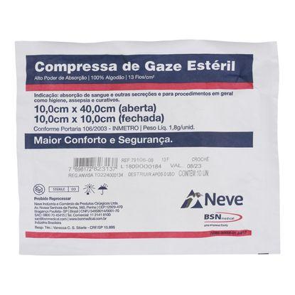 Compressa-de-Gaze-Neve-Esteril-13-Fios-Croche-Radiopaco-10-x-10cm-com-10-unidades