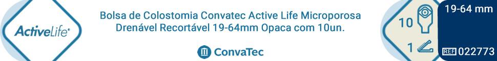 Bolsa de Colostomia Convatec Active Life Microporosa Drenável Recortável 19-64mm Opaca com 10un