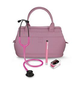 Kit-Academico-Rosa-com-Maleta---Lanterna-Clinica---Oximetro---Esteto-Professional-Black-Edition