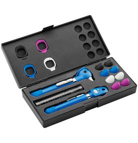 Kit-Otoscopio-e-Oftalmoscopio-Pocket-Plus-LED-Set-Azul-Welch-Allyn-