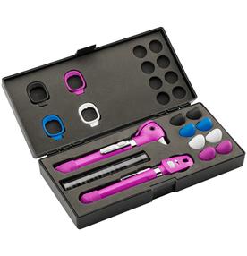 Kit-Otoscopio-e-Oftalmoscopio-Pocket-Plus-LED-Set-Violeta-Welch-Allyn